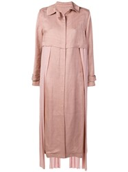 Esteban Cortazar Belted Trench Coat Pink