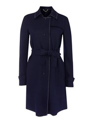 Marella Papilla Wool Coat With Visible Stitching Detail Navy