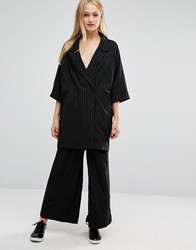 Monki Wide Leg Pin Stripe Trousers Black