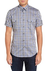 Calibrate Men's Trim Fit Non Iron Gingham Military Sport Shirt