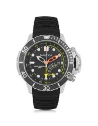 Nautica Nmx Silver Tone Stainless Steel Case And Black Rubber Strap Men's Dive Watch