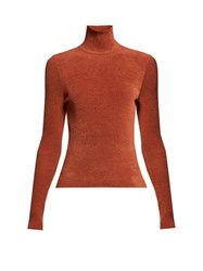 Alexandre Vauthier High Neck Ribbed Chenille Sweater Brown