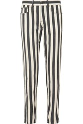 Saint Laurent Striped Low Rise Slim Leg Jeans Black