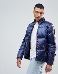 Bellfield Puffer Jacket With Sleeve Tape Navy