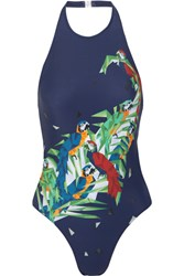 Norma Kamali Sister Chuck Printed Cutout Swimsuit Midnight Blue