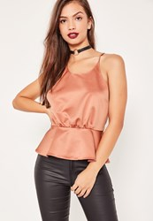 Missguided Pink Satin Cross Gather Back Cami Top Rose