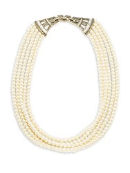 Heidi Daus Faux Pearl And Crystal Multi Strand Necklace 20In Cream