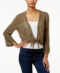 Hooked Up By Iot It's Our Time Juniors' Pointelle Back Tie Front Cardigan Fall Kale