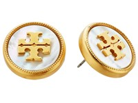 Tory Burch Semi Precious Stud Earrings Mother Of Pearl Vintage Gold Earring Silver