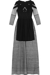 Alice By Temperley Angelina Crepe Paneled Tulle Maxi Dress Black