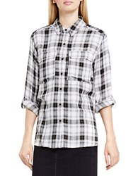 Vince Camuto Canyon Plaid Shirt White Black