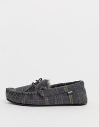 Totes Check Moccasin Slipper In Grey