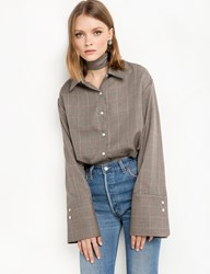Pixie Market Tweed Wide Sleeve Cuff Shirt 15 Off