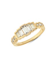 Crislu Cubic Zirconia Baguette Sterling Silver And 18K Yellow Gold Eloise Ring