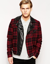 Selected Wool Check Biker Jacket With Leather Lapel Redcheck