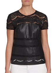 Saks Fifth Avenue Red Faux Leather And Lace Top Black