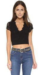 Nightcap Clothing Victorian Lace Crop Top Black