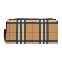 Burberry Beige And Black Small Vintage Check Zip Wallet