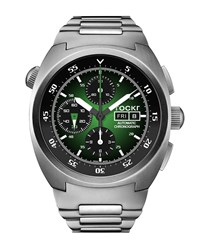 Tockr Watches Air Defender Chronograph Stainless Steel Watch Green Black