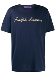Ralph Lauren Purple Label Gold Logo Printed T Shirt Blue
