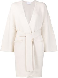 Ryan Roche Belted Cardigan White