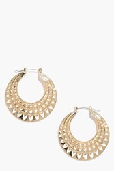 Boohoo Aztec Cut Out Hoops Gold