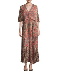 Vilshenko Paisley Print Light Crepe Maxi Dress Red Pattern
