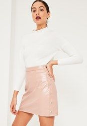 Missguided Pink Popper Side A Line Faux Leather Mini Skirt