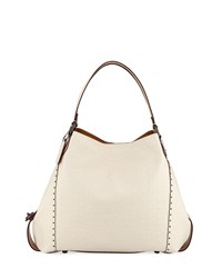 Coach Edie 42 Signature Leather Hobo Bag Chalk