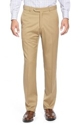 Men's Big And Tall Ballin Flat Front Solid Wool Trousers Khaki