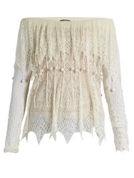 Alexander Mcqueen Off The Shoulder Pompom Trimmed Lace Top Ivory