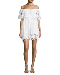 Miguelina Angelique Tropical Scallop Lace Coverup Dress White