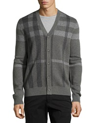 Neiman Marcus Plaid V Neck Button Front Cardigan Flint