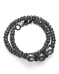 Armenta Old World Midnight Beaded Labradorite Tahitian South Sea Black Pearl And Champagne Diamond Double Wrap Bracelet Gray Black