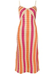 Suboo Striped Knit Slip Dress Orange