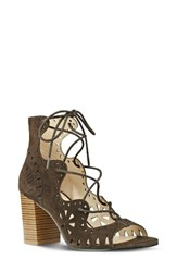 Nine West Women's Gweniah Ghillie Lace Gladiator Sandal Dark Brown Suede