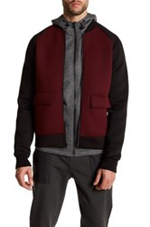 Kenneth Cole Long Sleeve Colorblock Bomber Jacket Red