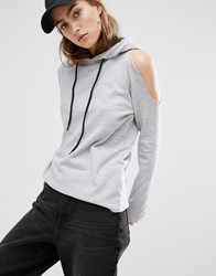 Daisy Street Cut Off Hoodie With Distressed Cold Shoulder Grey