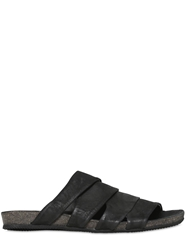 The Last Conspiracy Multi Strap Matte Leather Sandals Black