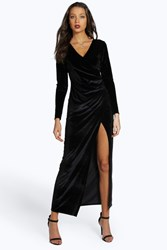 Boohoo Tall Martha Velvet Side Split Long Sleeve Maxi Dress Black