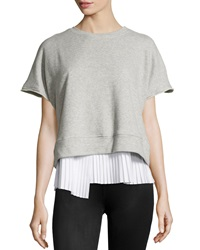 10 Crosby Derek Lam Pleated 2 In 1 Short Sleeve Sweatshirt Gray