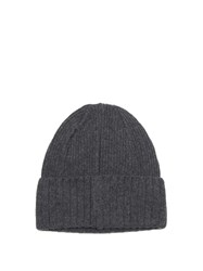Larose Ribbed Knit Merino Blend Beanie Hat Dark Grey