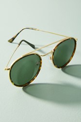 Anthropologie Amica Tortoise Browbar Sunglasses Gold