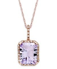 Macy's 10K Rose Gold Necklace Emerald Cut Pink Amethyst 2 1 2 Ct. T.W. And Diamond 1 10 Ct. T.W. Pendant