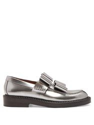 Marni Bow Detail Leather Loafers Silver