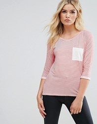 Daisy Street T Shirt With Contrast Pocket Coral Pink