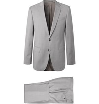 Hugo Boss Grey Huge Genius Slim Fit Super 120S Virgin Wool Suit Gray