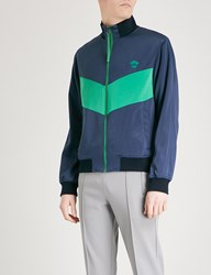 Versace Logo Embroidered Jersey Track Jacket Green