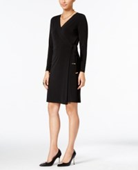 Thalia Sodi Belted Wrap Dress Only At Macy's Deep Black
