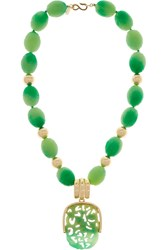 Kenneth Jay Lane Gold Plated And Bead Necklace Green